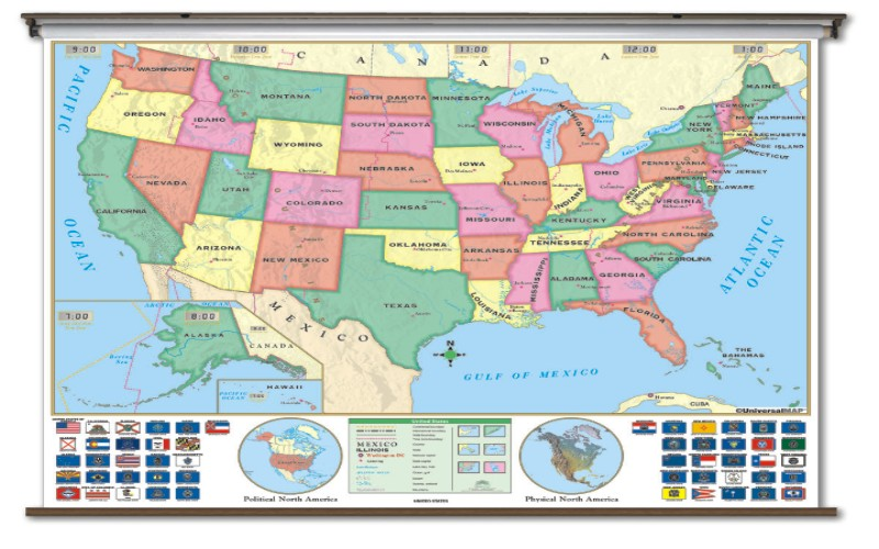 School Spring Roller Wall Maps Universal Map Co One Map Place Inc - Bodies of water in us map