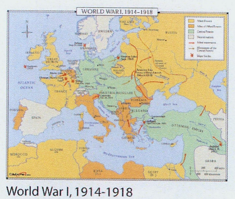 world war 1 map europe 1914. World War I, 1914-1918 wall
