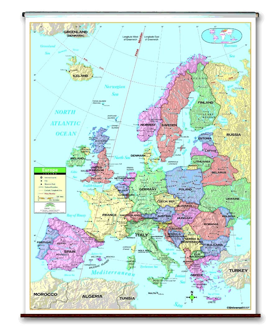 School spring roller wall maps one map place inc image gumiabroncs Choice Image