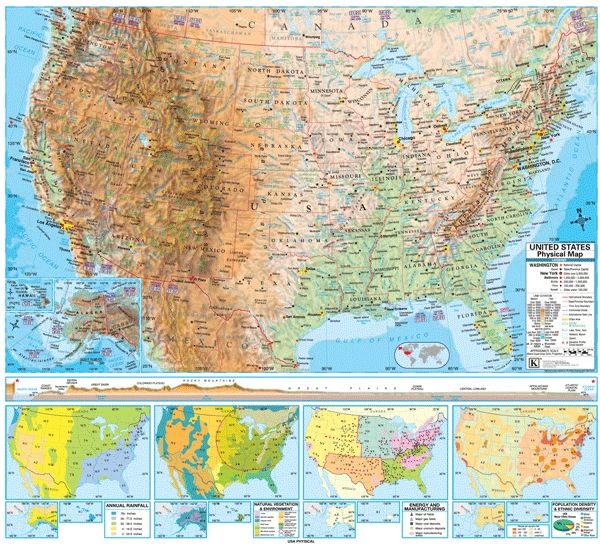 School Spring Roller Wall Maps United States Physical Universal - Physical features of the united states map