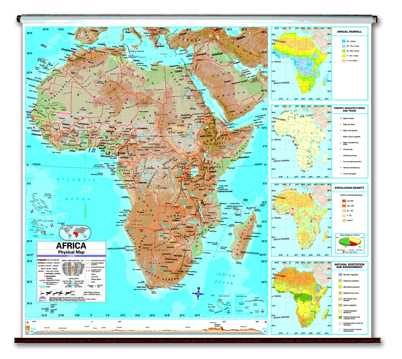 Physical Continent School Spring Roller Wall Maps - Map of africa physical