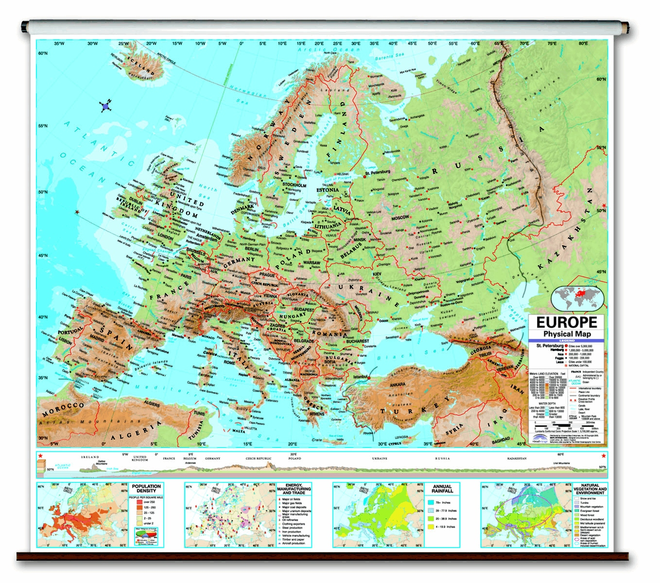 Europe Physical wall map Images Frompo