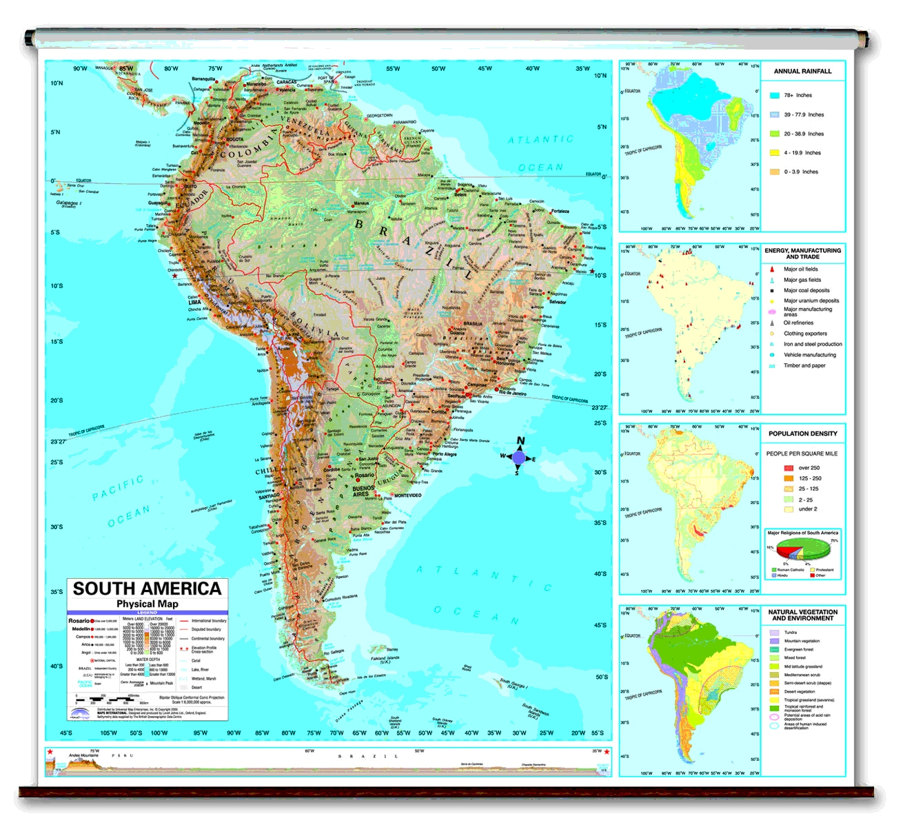 Physical continent school spring roller wall maps South America Wall Maps