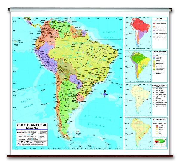 Continent Political School Spring Roller Wall Maps - Usa map with longitude and latitude lines