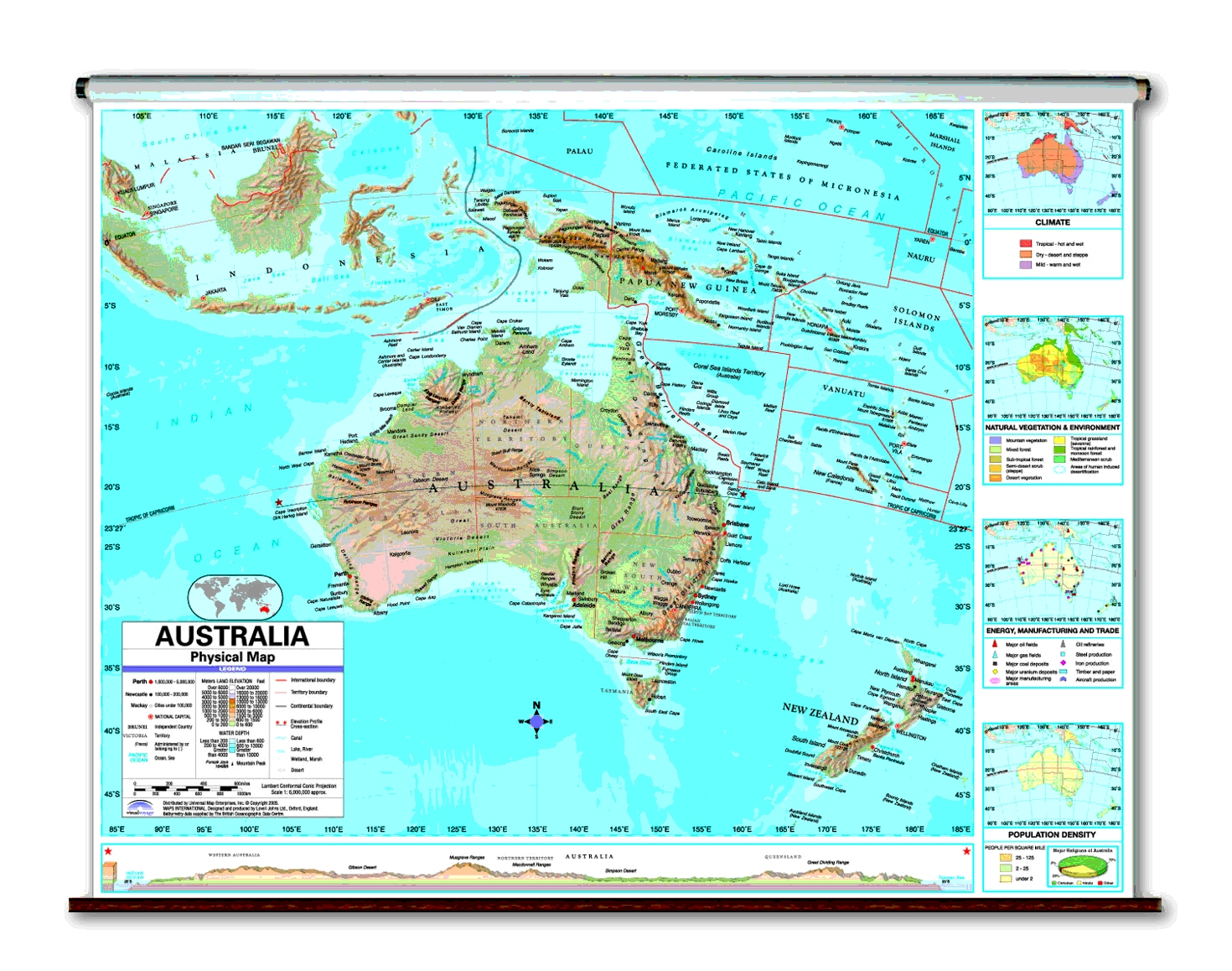 Physical Continent School Spring Roller Wall Maps - Australia physical map