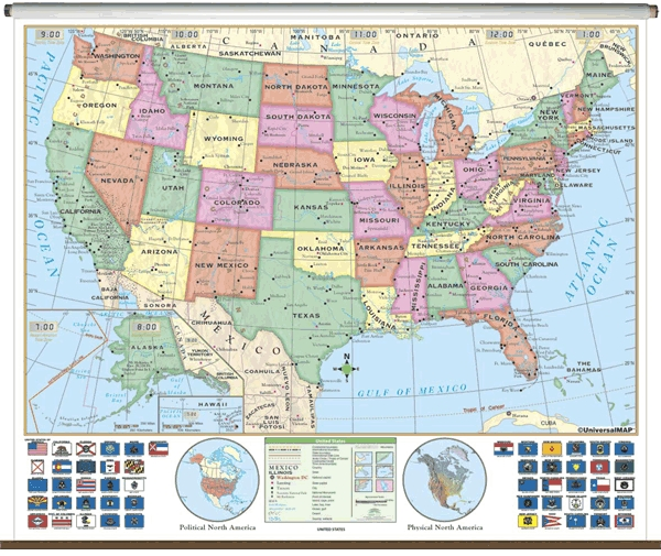 School spring roller wall maps One Map Place Inc