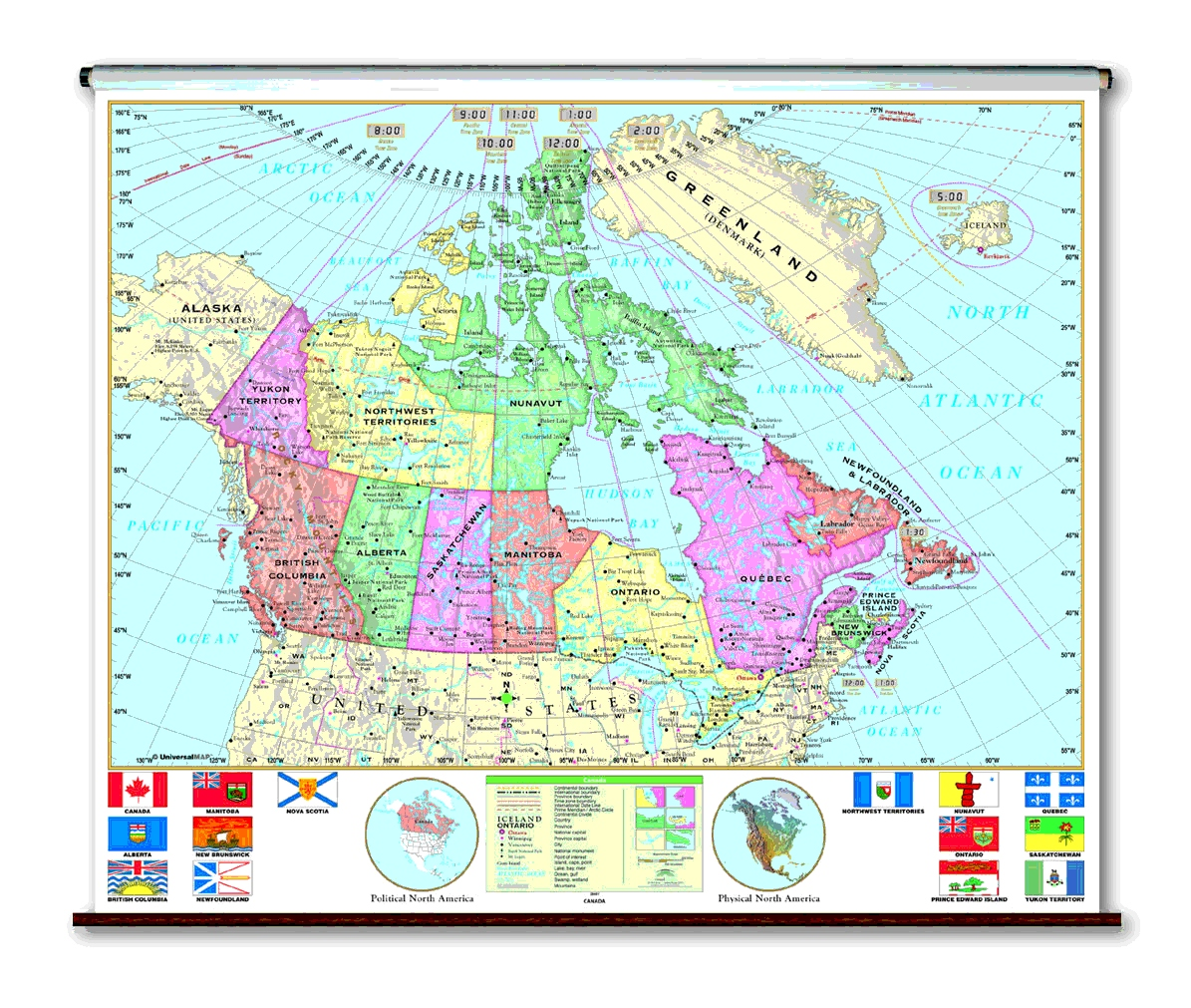 School spring roller wall maps canada universal map co the essential series features the same clear concise maps as the primary series but with an enhanced legend and pictorial landform illustrations for sciox Images