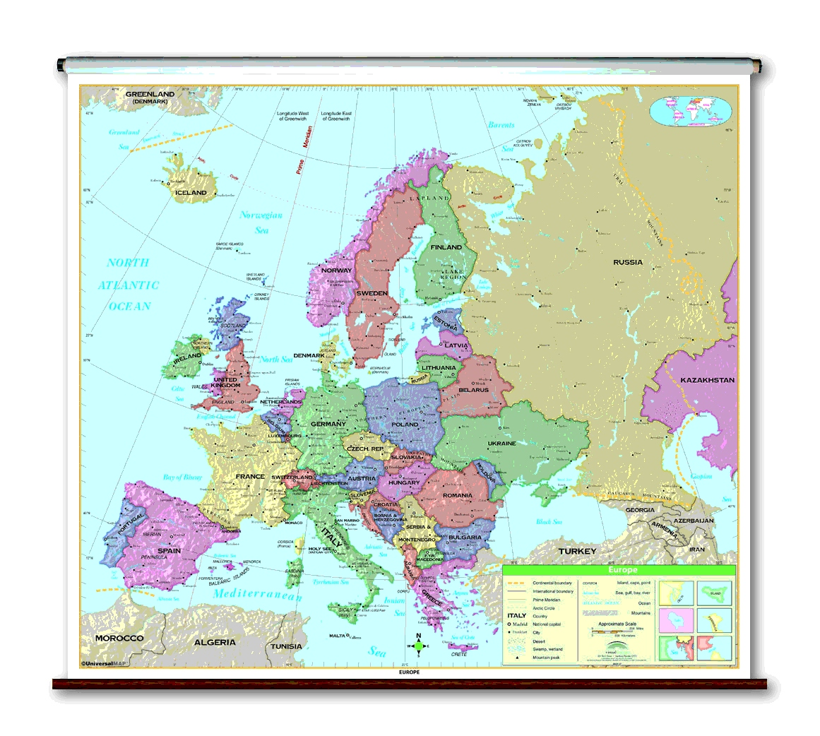 School Spring Roller Wall Maps For Your Classroom - Map with latitude and longitude of north america