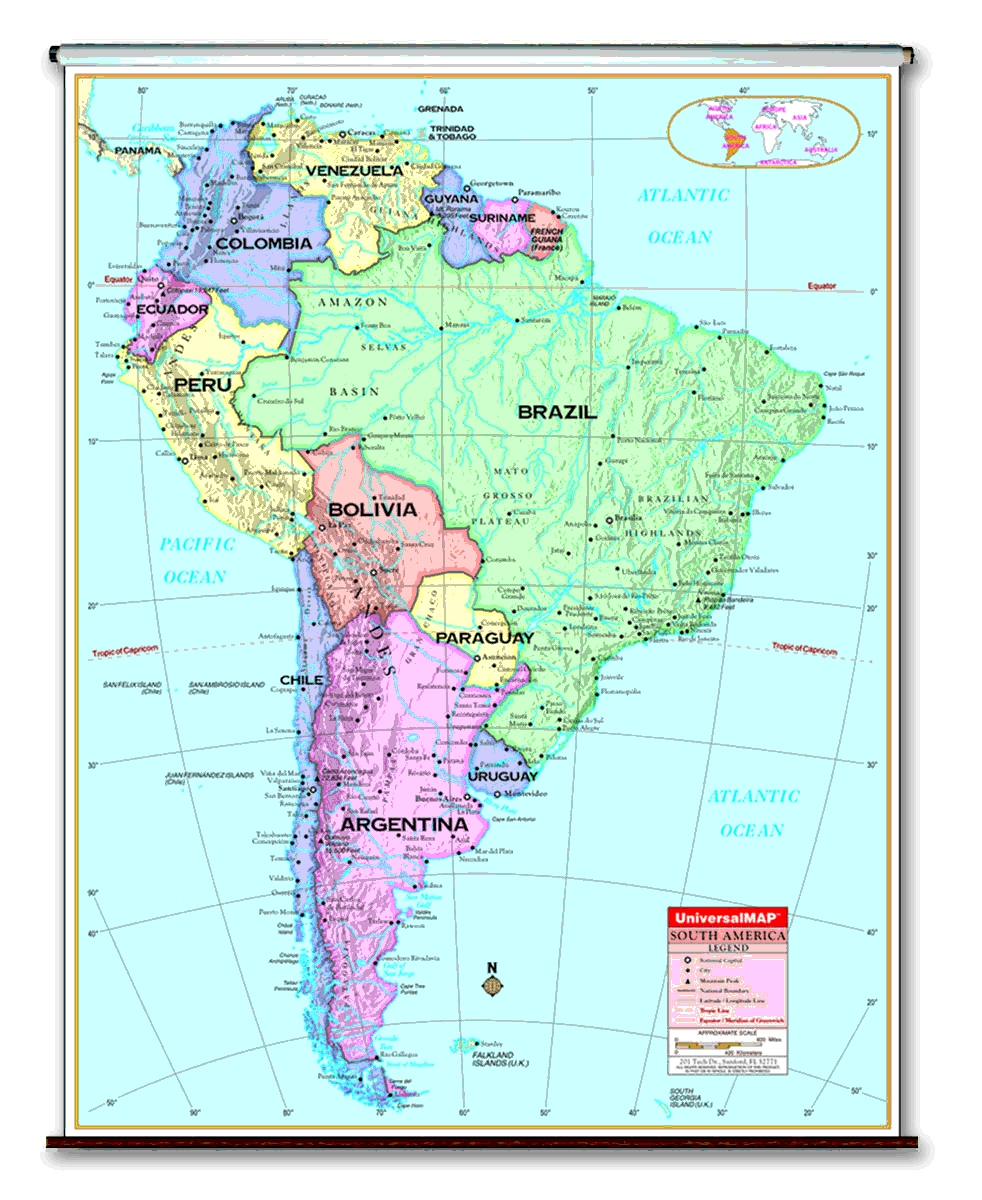 School Spring Roller Wall Maps For Your Classroom - Argentina map latitude