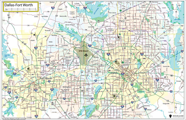 Dallas Fort Worth wall maps in paper laminated or mounted