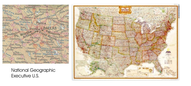 Executive us wall map in paper laminated or mounted by national this is the matching map for the executive world wall map giving you antique style colors with new information it shows cities highways airports and gumiabroncs Gallery