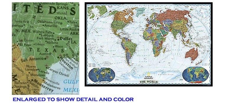 World Wall Map In Paper Laminated Or Mounted By National Geographic - World decorator map