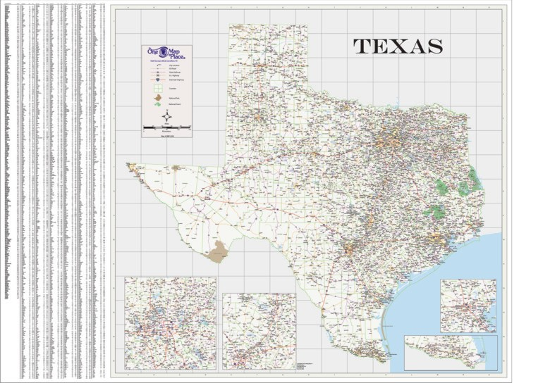 Texas Wall Map In Paper Laminated Or Mounted By One Map Place - Laminated state wall maps